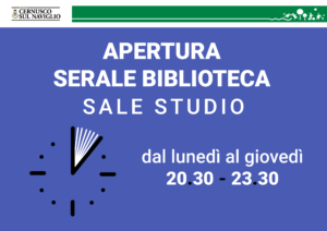 Apertura serale sale studio Biblioteca