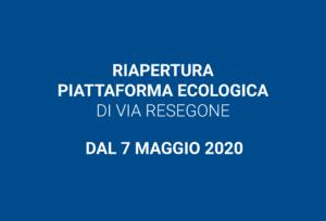 Riapre la piattaforma ecologica – 7 maggio 2020